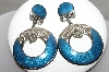 "MBA #88-073  ""Berebi Silvertone Fancy Blue Enameled Clip On Earrings"""