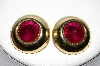 "MBA #88-023  ""Gold Plated Pink Acrylic Stone Pierced Earrings"""