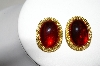 "MBA #88-172  ""GJD Gold Plated Red Glass Stone Clip On Earrings"""