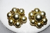 "MBA #88-191  ""Marvella  Goldtone Acrylic Bead Clip On Earrings"""