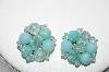 "MBA #88-228  ""West Germany Blue Acrylic Bead Clip On Earrings"""