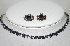"**MBA #89-075  ""Liz Palacioz? Purple Rhinestone Chocker & Clip On Earring Set"""