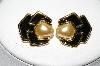 "**MBA #88-174  ""Napier Goldtone Black Enamel & White Glass Pearl Clip On Earrings"""