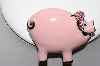 "**MBA #89-088  ""Silvertone Large Pink Enameled Pig Pin/Pendant Combo"""