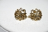 "+MBA #88-129  ""Vintage Gold Plated Monogram Screw Back Earrings"""