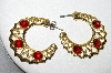 "+MBA #88-455  ""Gold Plated Red Glass Cabachon 3/4 Pierced Hoop Earrings"""