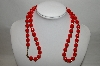 "MBA #88-027  ""Vintage Red Acrylic Bead Necklace"""