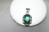 "**MBA #87-012  ""Sterling Faceted Green Quartz Pendant"""