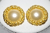"+MBA #88-093  ""Gold Tone Fancy Glass Pearl Clip On Earrings"""