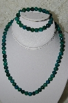 "**MBA #FL7-117    ""Sterling Green Howlite Bead Necklace & Matching Stretch Bracelet Set"""