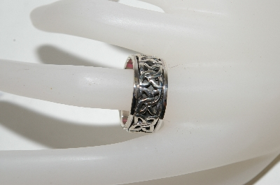 "**MBA #87-107  ""Sterling Men's Size 10 Celtic Spinner Band Ring"""