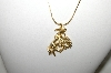 "**MBA #86-110  ""Gold Plated Bronc Rider & Horse Pendant & Chain"""