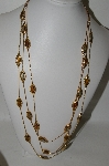 "MBA #86-102  ""Gold Plated Fancy Three Strand Enameled Necklace"""