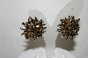 "+MBA #89-063  ""Fancy Silver Tone Tiger Eye Clip On Earrings"""