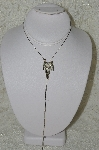 "MBA #86-058  ""Silvertone Rhinestone Saddle Bolo Necklace"""