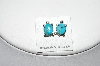 "** MBA #87-114  ""Sterling Silver Blue Turquoise Inlay Turtle Earrings"""