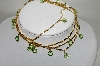 "MBA #89-045  ""Gold Tone Green Glass Faceted Stone Necklace"""