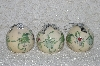 "**MBA #SG9-235     ""Set Of 3 Signed Tacy Porter Cream Colored Paper Mche Christmas Ornaments"""