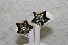 "MBA #FL7-057  ""Gold Plated Crystal Rhinestone Star Clip On Earrings"""