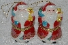 "**MBA #SG9-087   ""Mr. Christmas Set Of 2 Animated Santa Porcelain Music Box Ornaments"""