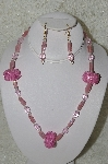 "+MBAHB #33-202   ""Hand Made Square Pink Bead Necklace & Earring Set"""
