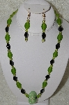 "+MBAHB #33-213  ""Hand Made Green & Black Glass Bead Necklace & Earring Set"""