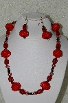 "+MBAHB #33-211  ""Fancy Red Hand Bead Necklace & Matching Earring Set"""