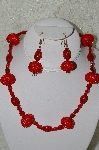 "+MBAHB #33-165  ""Fancy Hand Made Red Seed Bead Cluster Beads & Fancy Red Glass Necklace & Matching Earring Set"""