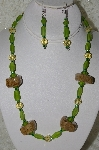 "+MBAHB #33-148  "" Fancy Hand Made Coffee Bead, Green Frosted Glass & Pale Yellow Faceted Crystal Bead Necklace & Earring Set"""