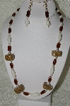 "+MBAHB #33-186  ""Fancy Coffee Bead, Brown Glass & White Luster Glass Bead Necklace & Matching Earring Set"""