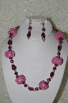 "+MBAHB #33-108  ""Fancy Square Pink Seed Bead, Purple Glass & Pink Crystal Necklace & Matching Earring Set"""