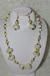 "+MBAHB #33-117  ""Fancy Hand Made Seed Bead Cluster Beads, Large Yellow Glass Pearls, Fancy Yellow Glass Beads & White Luster Glass Bead Necklace & Matching Earring Set"""