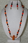 "+MBAHB #33-104  ""Fancy Orange Seed Bead Cluster, Czech Faceted Orange Glass Beads, Black Faceted Crystal Beads & Clear Luster Glass Beaded Necklace & Matching Earring Set"""