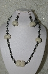 "+MBAHB #33-033  ""Fancy Hand made Clear AB Seed Bead Cluster Beads, Grey Glass Perals & Hemalyke Bead Necklace & Matching Earring Set"""