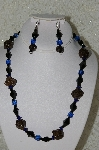"+MBAHB #33-101  ""Fancy Hand made Victorian Rose Petal Beads, Square Blue Glass Beads & Fancy Black Glass Bead Necklace & Matching Earring Set"""
