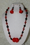 "+MBAHB #33-056  ""Fancy Red Hand Made Red Seed Bead Cluster Beads, Black Faceted Crystal Beads & Fancy Faceted Red Crystal Bead Necklace & Matching Earring Set"""