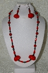 "+MBAHB #33-030  ""Fancy Hand Made Red Seed Bead Cluster Beads, Hemalyke & Red Jade Bead Necklace & Matching Earring Set"""