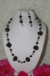 "+MBAHB #33-064 ""Fancy Hand made Victorian Rose Petal Beads, Sterling Silver Beads, Clear Glass Beads & Black Glass Bead Necklace & Matching Earring Set"""