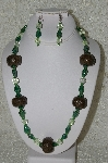 "+MBAHB #33-002  ""Fancy Round Hand Made Coffee Beads & Green Luster Glass Necklace & Matching Earring Set"""