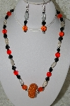 "+MBAHB #33-097  ""Fancy Orange Seed Bead Cluster Bead,Czech Faceted Orange Glass bead,Clear Luster Glass & Fancy Square Black Glass Bead Necklace & Matching Earring Set"""