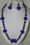 "+MBAHB #33-157  ""Fancy Blue Seed Bead Cluster Beads, Blue Luster Glass Bead Necklace & Matching Earring Set"""