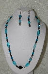 "MBAHB #33-205  ""Fancy Aqua Blue Glass Bead & Hemalyke Necklace & Matching Earring Set"""
