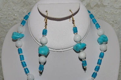 "MBAHB #33-179   ""Fancy Turquoise, White Jade & Blue Cracked Glass Bead Necklace & Matching Earring Set"""