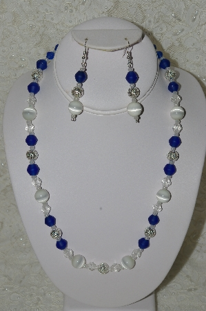 "MBAHB #33-036  ""Fancy White Glass Cats Eye, Fancy Faceted Clear Glass, Silver plated Beads & Frosted Blue Glass Bead Necklace & Matching Earring Set"""