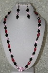 "MBAHB #33-094  ""Fancy Cranberry Glass, Black Glass, Pink Crystal Bead Necklace & Matching Earring Set"""