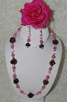 "+MBAHB #33-090  ""Fancy Hand Made Victorian Rose Petal Beads, Pink Milk Glass & Pink Crystal Bead Necklace & Matching Earring Set"""