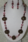"+MBAHB #33-088  ""Fancy Hand Made Coffee Beads, Purple Glass & Fancy Pink & Clear Glass Bead Necklace & Matching Earring Set"""