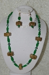 "+MBAHB #33-154  ""Fancy Hand Made Square Coffee Beads, Green Glass & Green Glass Pearl Necklace & Matching Earring Set"""