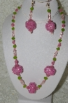 "+MBAHB #33-138  ""Fancy Pink Hand Made Seed Bead Cluster Beads, Frosted Pink Glass, Frosted Green Glass & Clear Pink Glass Beaded Necklace & Matching Earring Set"""