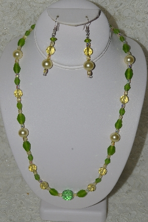 "MBAHB #33-131  ""Fancy Pale Yellow Crystal, Frosted Green Glass & Large Yellow Glass Pearl Necklace & Matching Earring Set"""